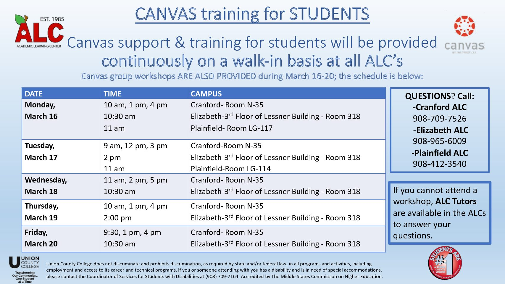 Canvas Workshops for Students